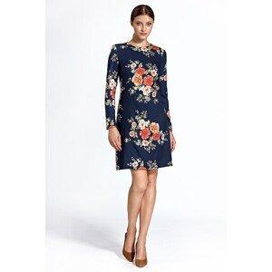Colett Woman's Dress Cs25 Flowers Navy Blue
