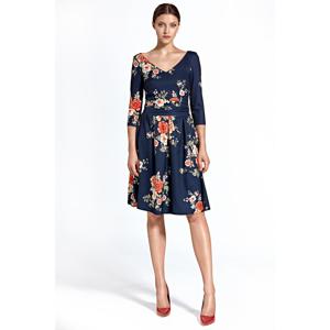 Colett Woman's Dress Cs27 Flowers Navy Blue