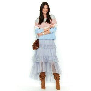 Numinou Woman's Sweater Nu S52 Grey-Light Blue