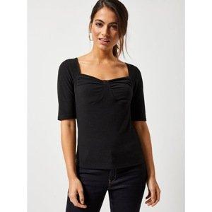 Čierne rebrované tričko Dorothy Perkins Petite