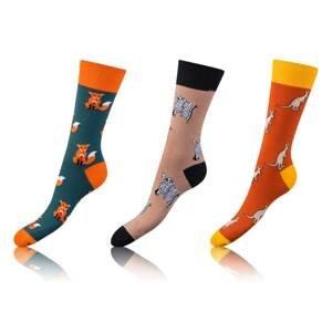 Fun crazy socks 3 pairs - orange - light blue - brown Bellinda