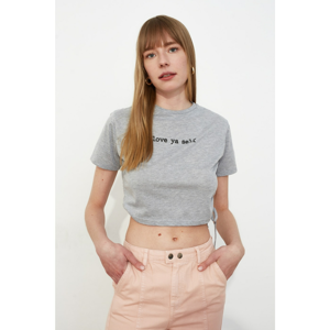 Trendyol Gray Printed Side Assynx Crop Knitted T-Shirt