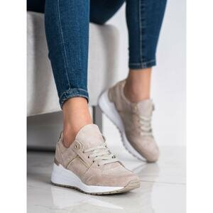FILIPPO BEIGE LEATHER TRAINERS