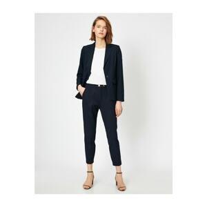Koton Women's Navy Blue High Waist Button Detail Carrot Trousers