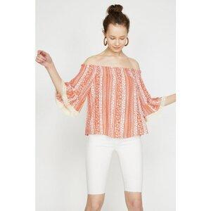 Koton Women's Orange Patterned Short Sleeve Blouse