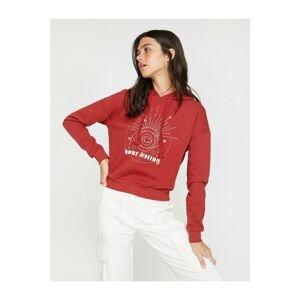 Koton Women's Hooded Long Sleeve Letter Printed Sweatshirt