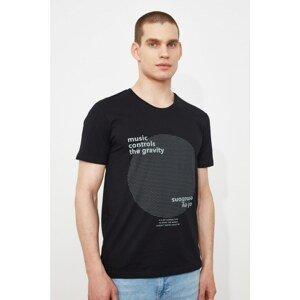 Trendyol Black Men's Slim Fit Short Sleeve Printed T-Shirt