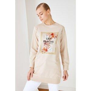 Trendyol Beige Printed Knitted Sweatshirt