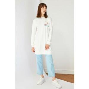 Trendyol Ecru Printed Crew Neck Knitted Sweatshirt