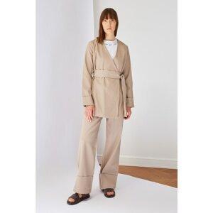 Trendyol Stone High Waist Elasticated Trousers