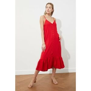 Trendyol Red Strapped Buttoned Dress