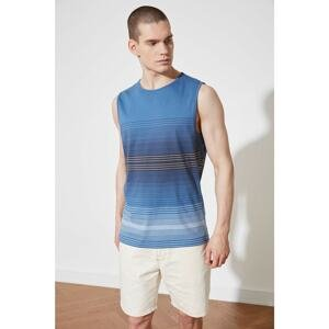 Trendyol Navy Blue Men Regular Fit Crew Neck Zero Sleeve Printed Undershirt