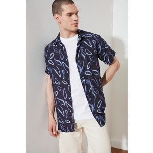 Trendyol Navy Blue Men Regular Fit Shirt Collar Short Sleeve Shirt