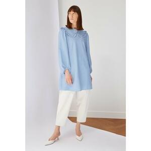 Trendyol Blue Striped Collar Detailed Tunic Dress