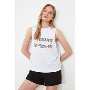 Trendyol White Printed Sports Tank Top