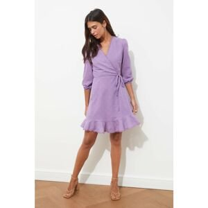 Trendyol Lilac Belted Fabric Textured Double Breasted Collar Dress