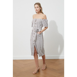 Trendyol Multi Color Belted Striped Dress