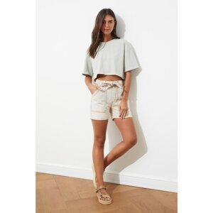 Trendyol Beige Lacing Detailed Denim Shorts