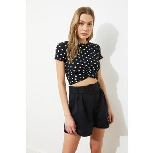 Trendyol Black Gathered Detailed Crop Knitted Blouse