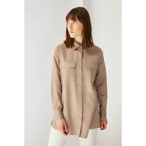 Trendyol Brown Shirt Collar Tunic