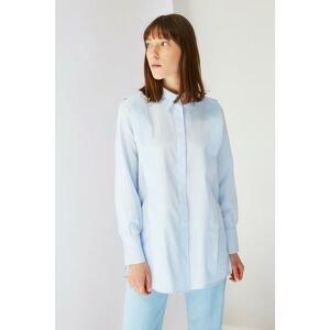 Trendyol Blue Shirt Collar Tunic
