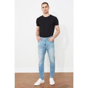 Trendyol Light Blue Men Ripped Detailed Normal Waist Carrot Fit Jeans