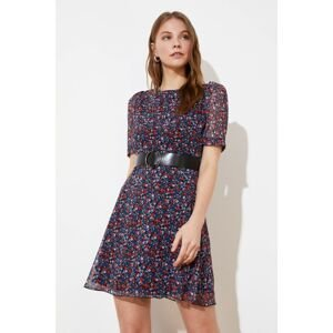 Trendyol Navy Blue Belt Patterned Dress
