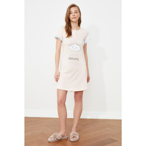 Trendyol Powder Printed Knitted Nightgown