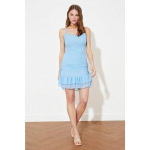 Trendyol Blue Gathered Detailed Dress
