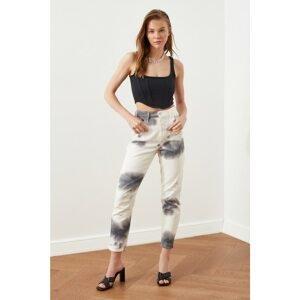 Trendyol White Batik Washed High Waist Mom Jeans