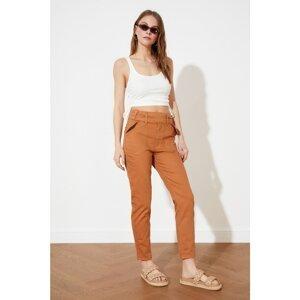 Trendyol Tan Button Detailed High Waist Mom Jeans