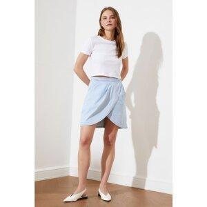 Trendyol Blue Asymmetric Closure Denim Skirt