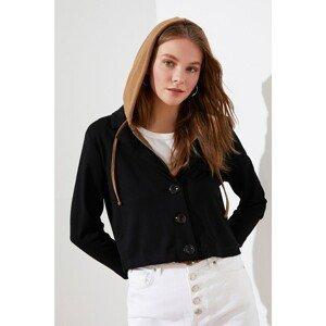 Trendyol Black Hooded Crop Knit Jacket