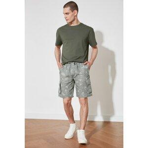 Trendyol Khaki Men's Double Flap Pocket Tropical Printed 100% Linen Shorts & Bermuda