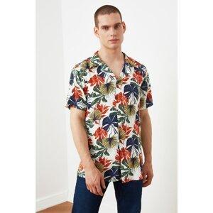 Trendyol Tile Men's Regular Fit Flannel Neck Short Sleeve Tropical Shirt