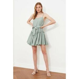 Trendyol Mint Belted Ruffle Strap Dress