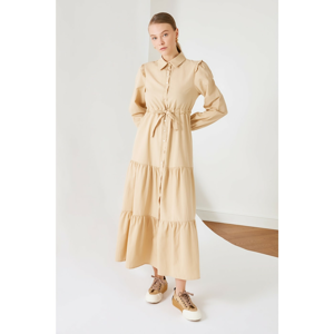 Trendyol Beige Shirt Collar Frilly Dress