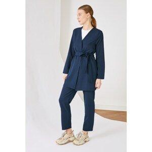 Trendyol Navy Blue Belt Detailed Jacket Trousers Bottom-Top Team