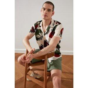 Trendyol White Men's Regular Fit Apaş Neck Tropical Shirt