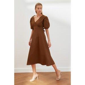 Trendyol Brown Back Detailed V Neck Dress