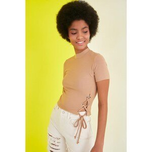 Trendyol Camel Cut Out Detailed Ribbed Knit Blouse