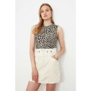 Trendyol Multicolor Leopard Pattern Crop Knitted Undershirt