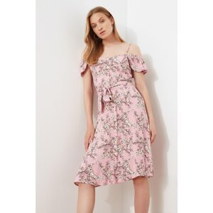 Trendyol Pink Belted Buttoned Dress