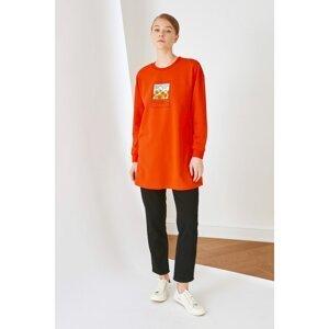 Trendyol Orange Printed Knitted Sweatshirt