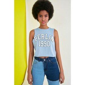 Trendyol Blue Printed Crop Knitted Undershirt