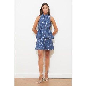 Trendyol Navy Blue Ruffle Stand Collar Dress