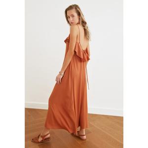 Trendyol Brown Floral Print Ruffled Beach Dress