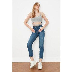 Trendyol Blue Wear Detailed High Waist Mom Jeans