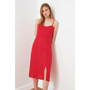 Trendyol Red Polka Dot Slit Dress