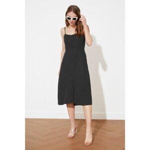 Trendyol Black Polka Dot Slit Dress